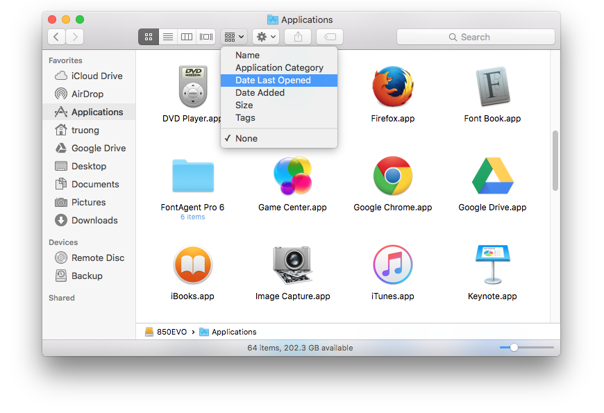 sort by date last opened in Finder