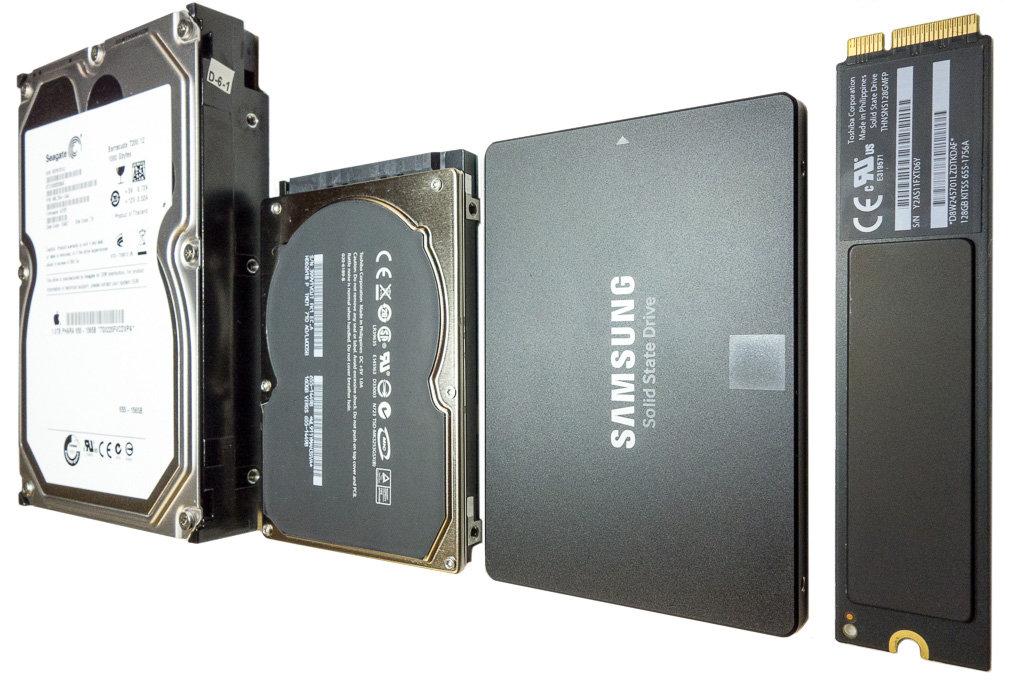 spinning drives next to standard ssd and Apple flash storage