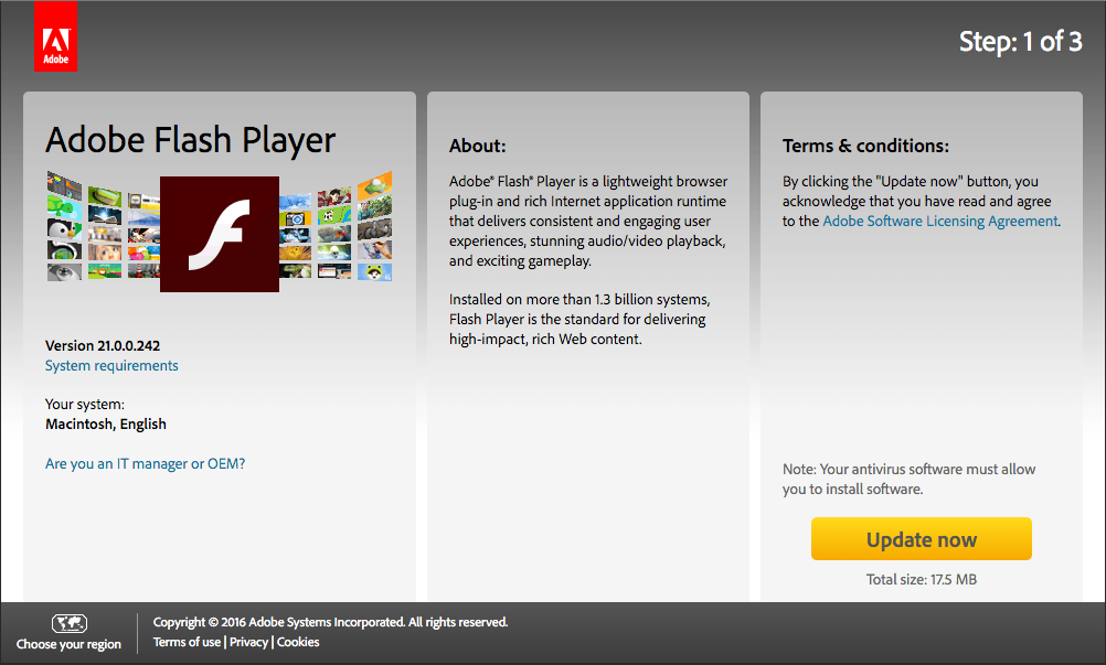 Download Flash Player updates on Adobe website