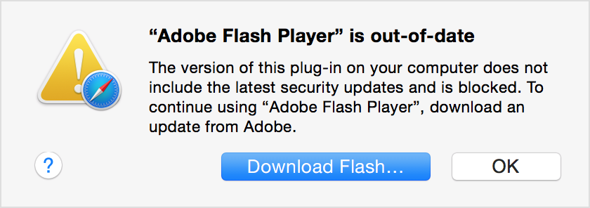 fake flash player out of date warning