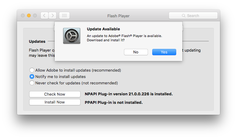 Check for Flash Player updates in System Preferences
