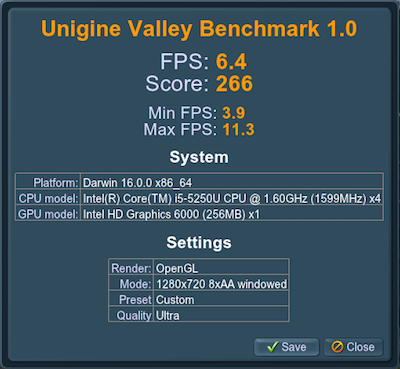 Intel HD 6000 Unigine Valley benchmark score