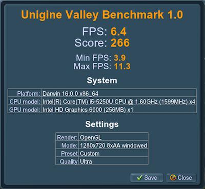 Intel HD 6000 Unigine Valley benchmark score