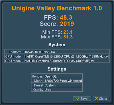 RX 470 Unigine Valley benchmark score