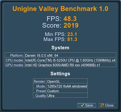 RX 470 Unigine Valley benchmark score