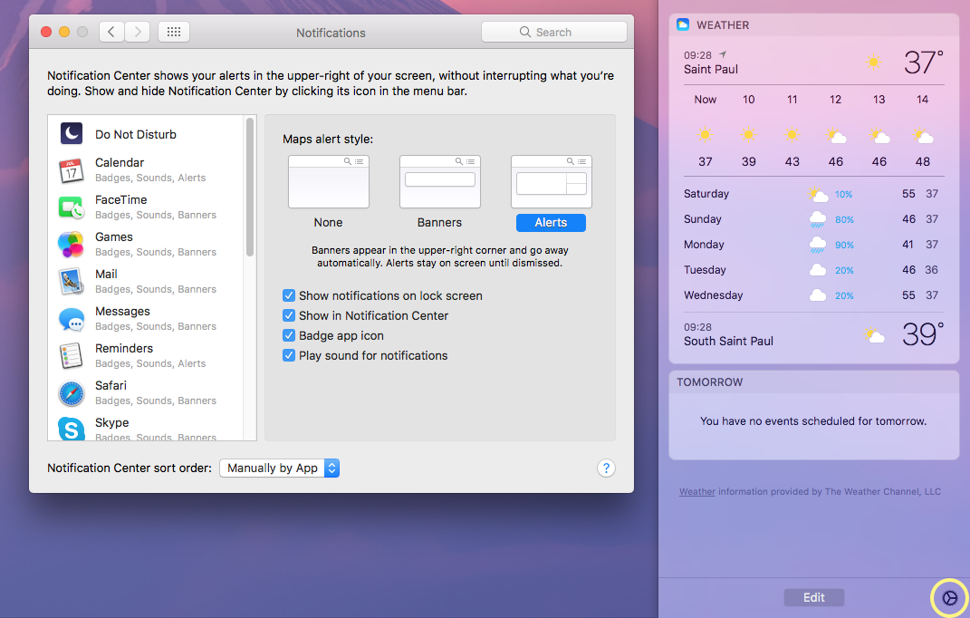 edit notification center settings in macOS